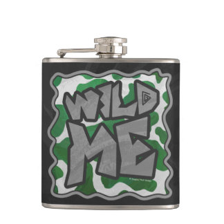 Wild Me Cow Green and White Print Hip Flask