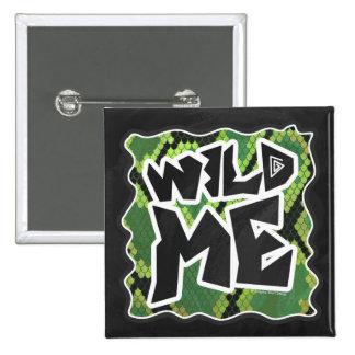 Wild Me Snake Black and Green Print Pinback Button