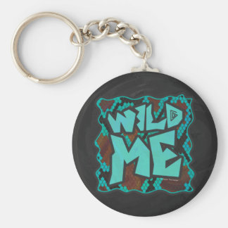 Wild Me Snake Brown and Teal Print Basic Round Button Keychain