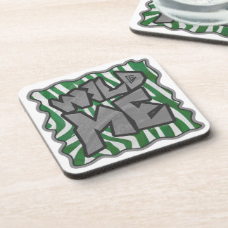 Wild Me Zebra Green and White Beverage Coaster