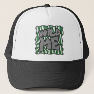 Wild Me Zebra Green and White Trucker Hat