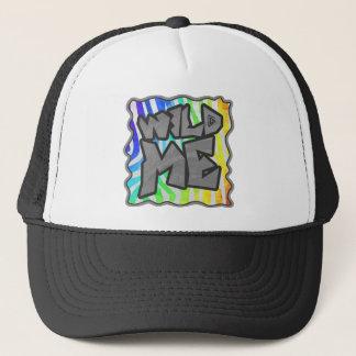 Wild Me Zebra Rainbow and White Print Trucker Hat