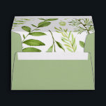 """Wild Meadow 5x7 Return Address Envelope<br><div class=""""desc"""">Designed to coordinate with our Wild Meadow wedding and event invitation collection,  these garden chic envelopes feature pale spring green exterior,  opening to reveal a pattern of painted watercolor greenery inside. Pre-print your return address using the fields provided.</div>"""