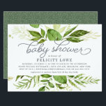 """Wild Meadow Baby Shower Invitation<br><div class=""""desc"""">Modern green botanical baby shower invitation features a top and bottom border of lush watercolor greenery in shades of forest and fern green, with decorative typography accents and smoky blue gray lettering. Personalize this gender neutral design with your desired baby shower invitation wording using the template fields. Designed to coordinate...</div>"""