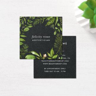 Wild Meadow | Black Botanical Frame Square Business Card