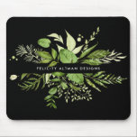 "Wild Meadow | Black &amp; Green Botanical Personalized Mouse Pad<br><div class=""desc"">Elegant botanical logo mousepad design features your name and/or business name framed by a border of lush watercolor greenery and leaves in shades of fern and forest green,  on a contrasting rich black background.</div>"