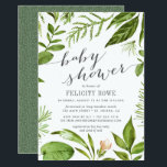 """Wild Meadow   Botanical Baby Shower Invitation<br><div class=""""desc"""">Our Wild Meadow baby shower invitation features your baby shower details in gray, framed by painted watercolor greenery in lush shades of spring green, olive and fern. A modern yet organic choice with chic calligraphy accents, for gender neutral baby showers featuring fresh green leaves and stems in Greenery, 2017&#39;s color...</div>"""