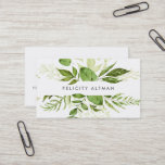 """Wild Meadow   Botanical Business Card<br><div class=""""desc"""">Chic botanical business cards feature your name or company name flanked by a top and bottom border of painted watercolor botanical leaves in rich shades of green. Add your full contact information to the back. A unique and elegant choice for landscape designers,  landscape architects,  florists and green businesses.</div>"""