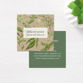 Wild Meadow | Botanical Print Kraft Square Business Card