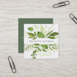 """Wild Meadow   Botanical Square Business Card<br><div class=""""desc"""">Chic botanical business cards in a unique square format feature your name or company name flanked by a top and bottom border of painted watercolor botanical leaves in rich shades of green. Add your full contact information to the back in white on forest green. A unique and elegant choice for...</div>"""