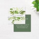 "Wild Meadow | Botanical Square Business Card<br><div class=""desc"">Chic botanical business cards in a unique square format feature your name or company name flanked by a top and bottom border of painted watercolor botanical leaves in rich shades of green. Add your full contact information to the back in white on forest green. A unique and elegant choice for...</div>"