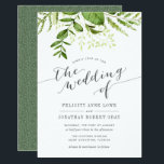 "Wild Meadow Botanical Wedding Invitation<br><div class=""desc"">Our Wild Meadow wedding invitation features your wedding day details in gray, topped by a spray of painted watercolor greenery in lush shades of spring green, olive and fern. A modern yet organic choice with chic calligraphy accents, for spring or summer weddings featuring fresh green foliage, leaves and stems in...</div>"