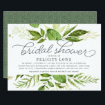 "Wild Meadow Bridal Shower Invitation<br><div class=""desc"">Modern green botanical bridal shower invitation features a top and bottom border of lush watercolor greenery in shades of forest and fern green, with decorative typography accents and smoky blue gray lettering. Personalize with your desired bridal shower invitation wording using the template fields. Designed to coordinate with our Wild Meadow...</div>"