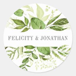 Wild Meadow | Green Botanical Wedding Classic Round Sticker