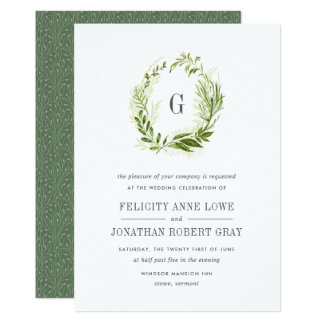 Lovely Wild Meadow Monogram Wedding Invitation