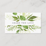 "Wild Meadow | Referral<br><div class=""desc"">Encourage your customers and clients to share the love with these chic botanical referral business cards. Front features a single line of custom text framed by a border of lush watercolor botanical leaves in shades of fern and spring green. Add your contact information and referral terms to the reverse side...</div>"