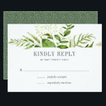"""Wild Meadow RSVP Card<br><div class=""""desc"""">Designed to coordinate with our Wild Meadow wedding collection,  this fresh green botanical RSVP card features a spray of greenery topping your desired response date and custom accept and decline wording.</div>"""