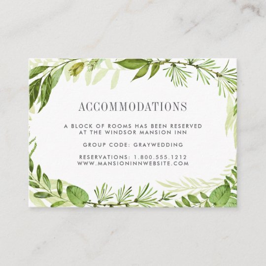 Wild Meadow Wedding Hotel Accommodation Cards