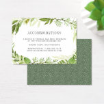 "Wild Meadow | Wedding Hotel Accommodation Cards<br><div class=""desc"">Slip these chic,  petite cards into your wedding invitations to let out of town guests know of any hotel arrangements or group codes. Designed to coordinate with our Wild Meadow wedding collection,  cards feature gray lettering with a botanical greenery border in watercolor shades of fern and forest green.</div>"