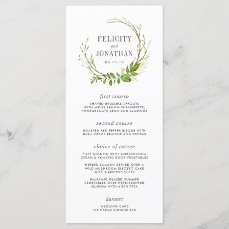 Wild Meadow Wedding Menu Card