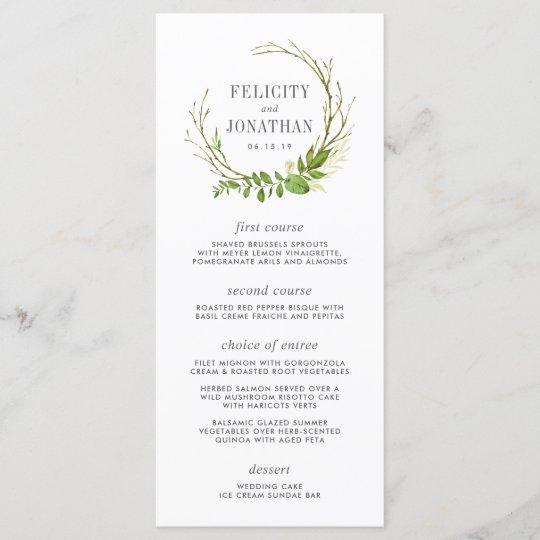 wild meadow wedding menu card  zazzle