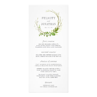 Wild Meadow Wedding Menu Card