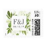 Wild Meadow Wedding Monogram Postage<br><div class='desc'>Finish your invitation envelopes with these elegant botanical wedding postage stamps featuring your initials and wedding date framed by a square border of lush greenery in shades of forest green and fern. Coordinates with our Wild Meadow wedding collection.</div>