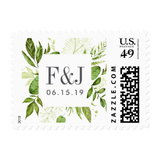 Wild Meadow Wedding Monogram Postage