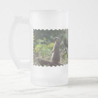 Wild Meerkat Frosted Glass Beer Mug