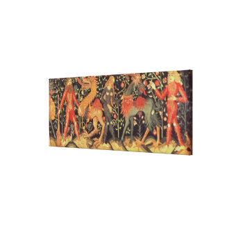 Wild Men and Animals, tapestry, 15th century Canvas Print