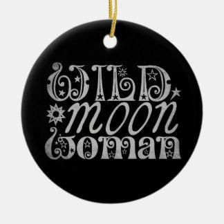 Wild Moon Woman Ceramic Ornament