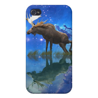 Wild Moose and Full Moon Wildlife iPhone 4 Covers
