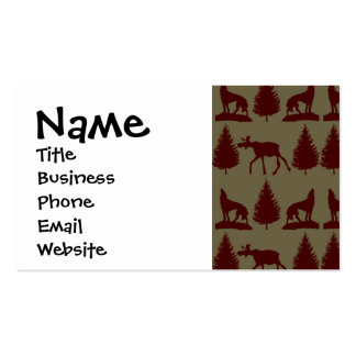 Wild Moose Wolf Wilderness Mountain Cabin Rustic Business Card