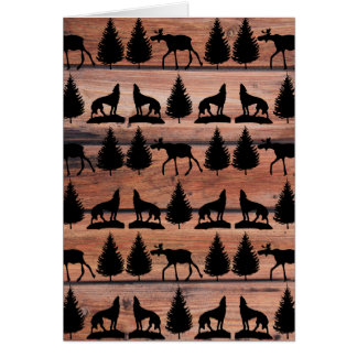 Wild Moose Wolf Wilderness Mountain Cabin Rustic Card