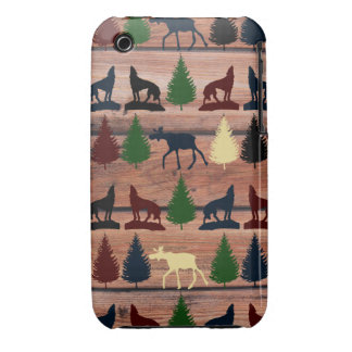 Wild Moose Wolf Wilderness Mountain Cabin Rustic iPhone 3 Covers