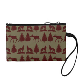Wild Moose Wolf Wilderness Mountain Cabin Rustic Coin Wallet