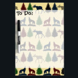 "Wild Moose Wolf Wilderness Mountain Cabin Rustic Dry Erase Board<br><div class=""desc"">Wild Moose Wolf Wilderness Mountain Cabin Rustic Decor with a repeating pattern of moose, wolves howling, and pine trees in multiple colors of navy blue, maroon red, tan, and hunter green. &quot;mountains&quot; &quot;pine tree&quot; &quot;wolf&quot; &quot;wolves&quot; &quot;moose&quot; &quot;wilderness&quot; &quot;cabin decor&quot; &quot;rustic&quot; &quot;country&quot; &quot;wild&quot; &quot;hunting&quot; &quot;camo&quot; &quot;hunter green and black&quot; &quot;in the...</div>"