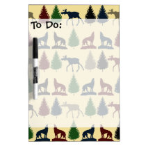 Wild Moose Wolf Wilderness Mountain Cabin Rustic Dry Erase Board