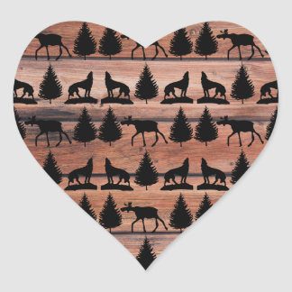 Wild Moose Wolf Wilderness Mountain Cabin Rustic Heart Sticker