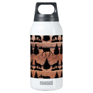 Wild Moose Wolf Wilderness Mountain Cabin Rustic Insulated Water Bottle