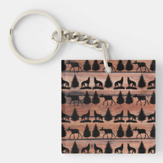 Wild Moose Wolf Wilderness Mountain Cabin Rustic Double-Sided Square Acrylic Keychain