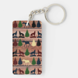 Wild Moose Wolf Wilderness Mountain Cabin Rustic Double-Sided Rectangular Acrylic Keychain