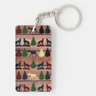 Wild Moose Wolf Wilderness Mountain Cabin Rustic Keychain