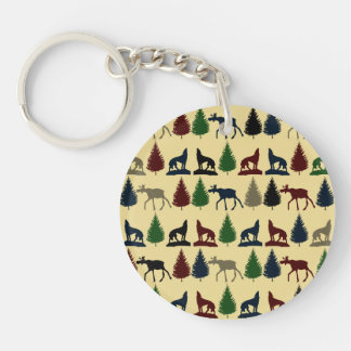 Wild Moose Wolf Wilderness Mountain Cabin Rustic Double-Sided Round Acrylic Keychain