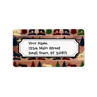 Wild Moose Wolf Wilderness Mountain Cabin Rustic Label