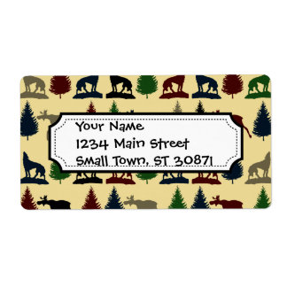 Wild Moose Wolf Wilderness Mountain Cabin Rustic Personalized Shipping Labels