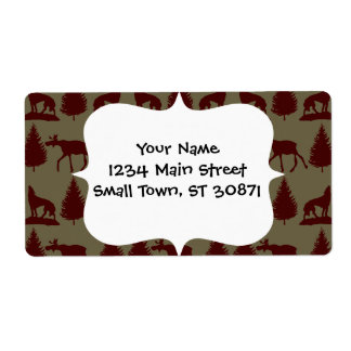 Wild Moose Wolf Wilderness Mountain Cabin Rustic Personalized Shipping Label