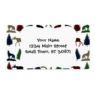 Wild Moose Wolf Wilderness Mountain Cabin Rustic Labels