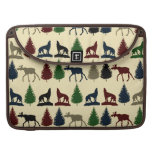 Wild Moose Wolf Wilderness Mountain Cabin Rustic Sleeves For MacBooks