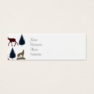 Wild Moose Wolf Wilderness Mountain Cabin Rustic Mini Business Card